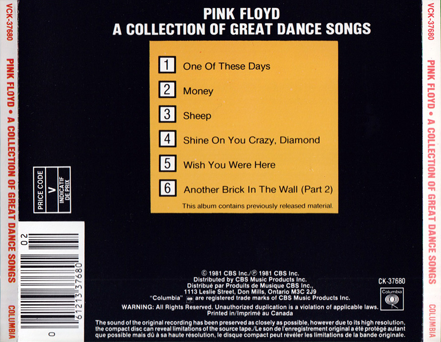 Pink Floyd Archives-Canadian Compilation CD Discography