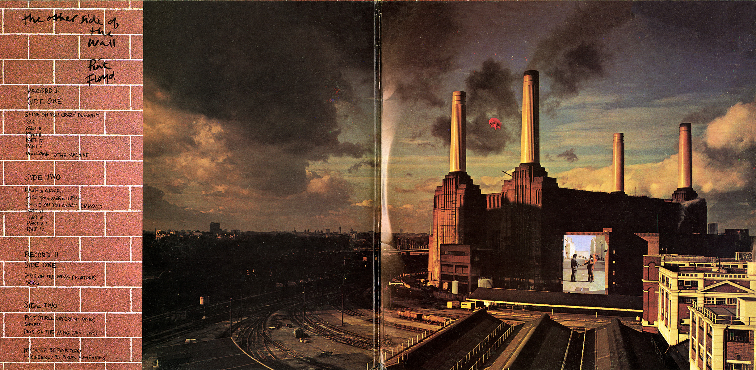 Pink floyd animals -  Animals Cover With The Burning Man Picture On Battersea Spine The Other Side Of The Wall Pink Floyd Agp 79 80 110 Labels Orange Cbs Labels
